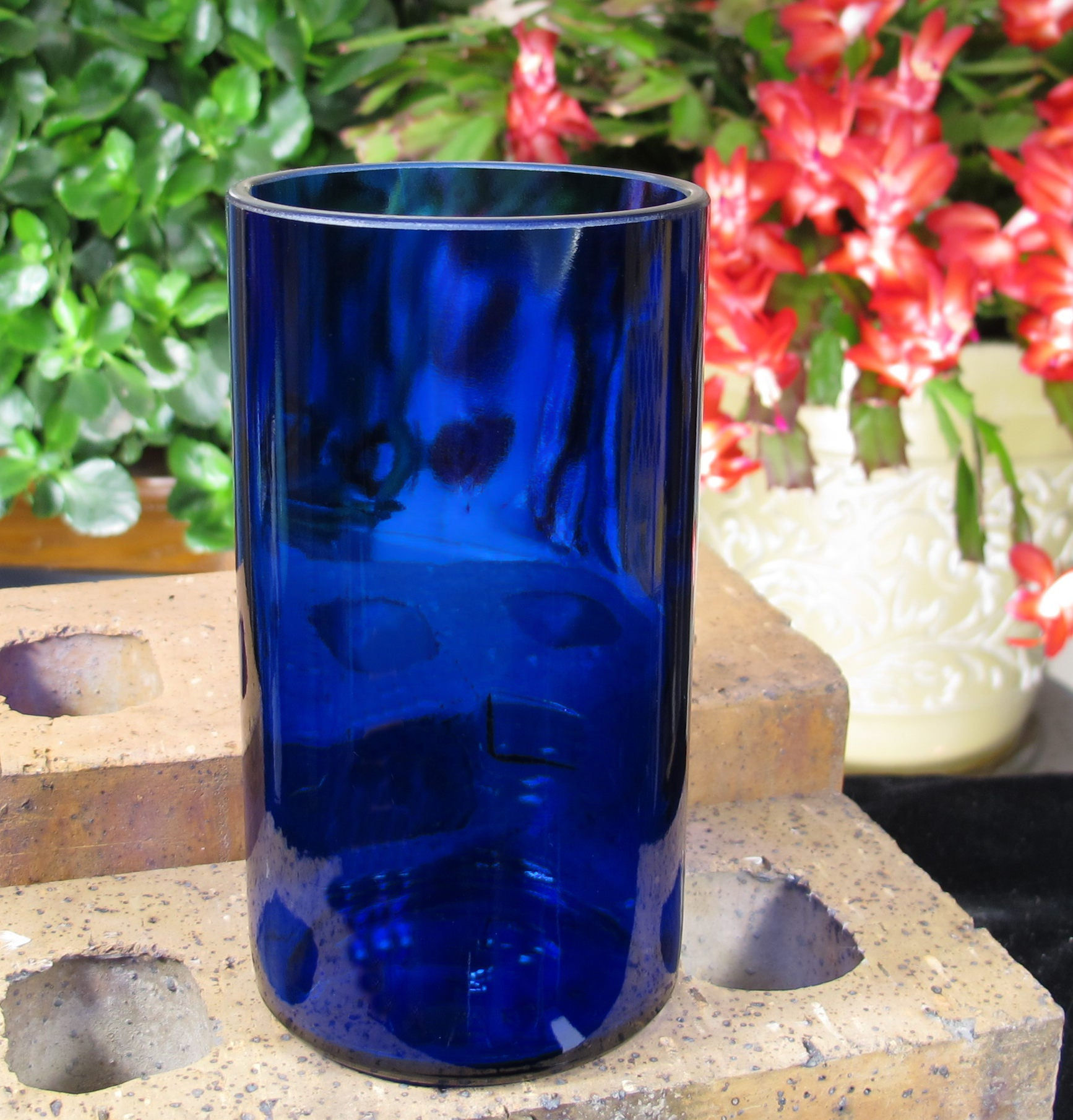 Skinny Tumbler Skyy Vodka Booze Gift Idea 21st Birthday Blue Glass Drinkware Cousin Dad Xmas Presents Cool Wedding