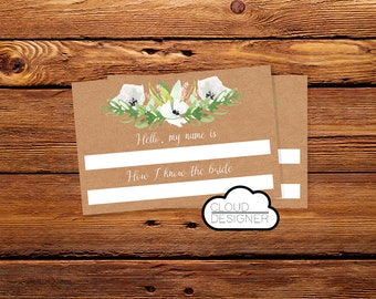Name Tag Bridal Shower / Bachelorette Party / Wedding Shower / Bridal Shower Name Tags / Printable