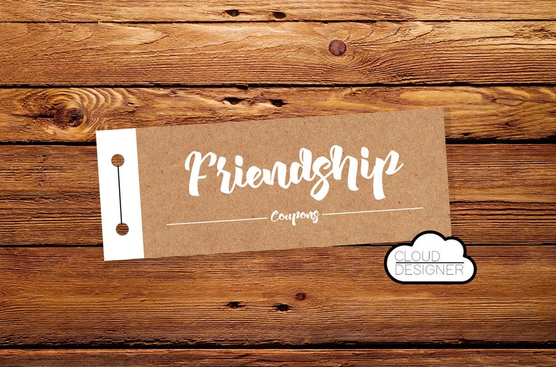 graphic about Friendship Coupons Printable identified as Friendship Coupon / Coupon Ebook / Least difficult Buddy Present / PRINTABLE