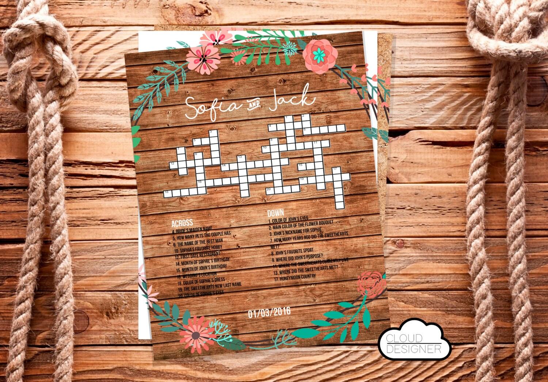 Druckbare Hochzeits Kreuzworträtsel Weiß Holz Kraft Willkommen Tasche Stuffer Empfang Spiel Brautdusche