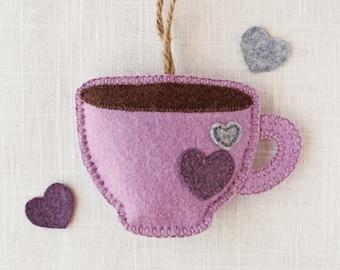 Felt Coffee Mug, Felt Tea Cup, Stuffed Felt Ornament, Plush Felt Ornament, Cute Felt Ornament, Cute Coffee Gift, Stuffed Coffee Mug