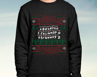 Stranger Things Mens Ugly Holiday Led Light Up Sweater Red