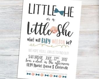 Gender Reveal Invitation - Little He Little She