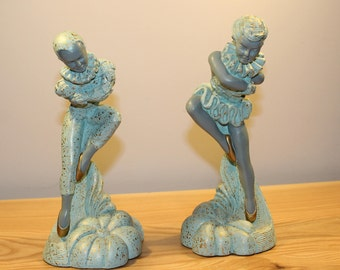 Vintage - Devonware - Chalk Harlequin Figurines - Made in Canada