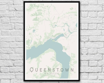 Queenstown map etsy queenstown map print new zealand map gift for couples wedding gift wall art poster wall decor a3 a2 valentines day gift junglespirit Choice Image