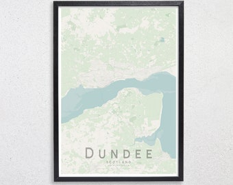 Map of dundee   Etsy Dundee Scotland Map on