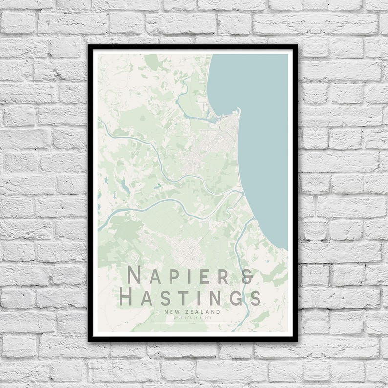 Hastings New Zealand Map.Napier Hastings New Zealand City Street Map Print Wall Art Poster Wall Decor A3 A2