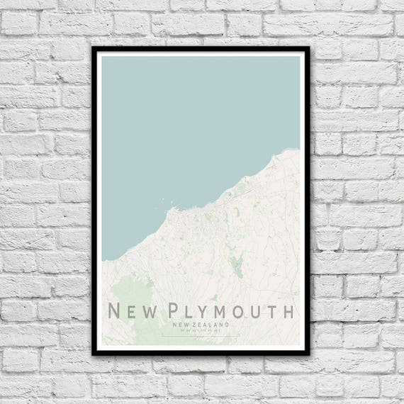 Where Is New Plymouth In New Zealand Map.New Plymouth New Zealand City Street Map Print Travel Print Wall Art Poster Wall Decor A3 A2 Seaside Print Gift For Couple