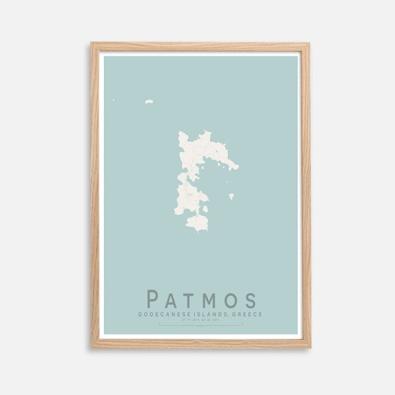 Patmos Greek Islands Greece Map Print Wall Art Poster Wall Etsy