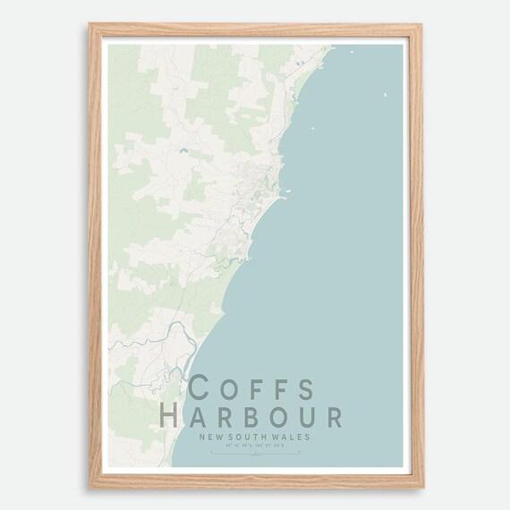 Street Map Australia.Coffs Harbour Nsw City Street Map Print Australia Wall Art Poster Wall Decor A3 A2