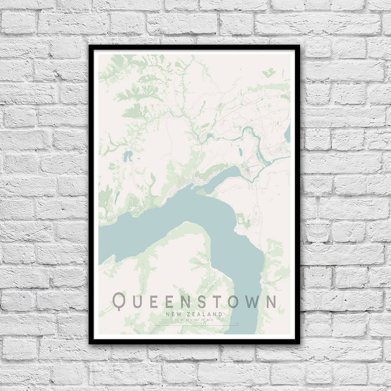 QUEENSTOWN Map Print New Zealand Map Gift for Couples | Etsy on