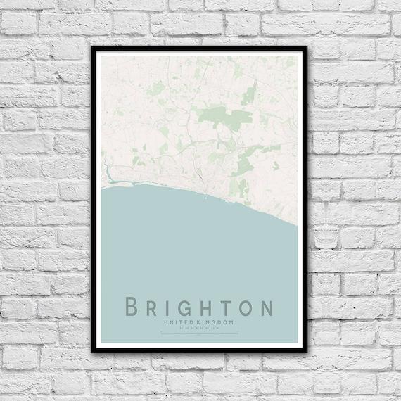 Brighton England City Street Map Print Seaside Print Etsy