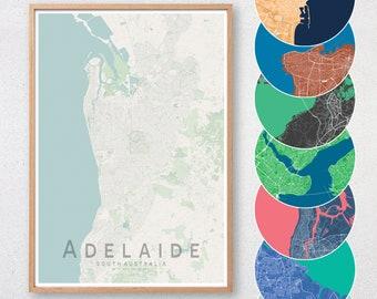 Adelaide Map Print | South Australia City Map | Housewarming Gift | Apartment Wall Art | Travel Poster | Nursery Print | Wall decor | A3 A2