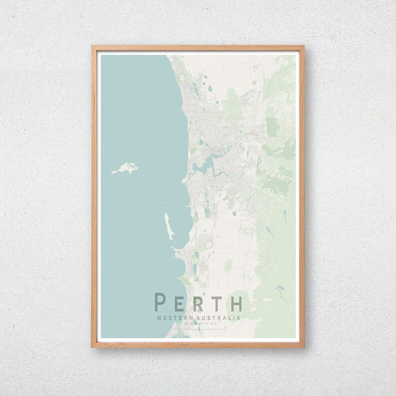 Perth Western Australia Map.Perth Map Print Western Australia Wa City Street Wall Art Poster Wall Decor A3 A2 A1