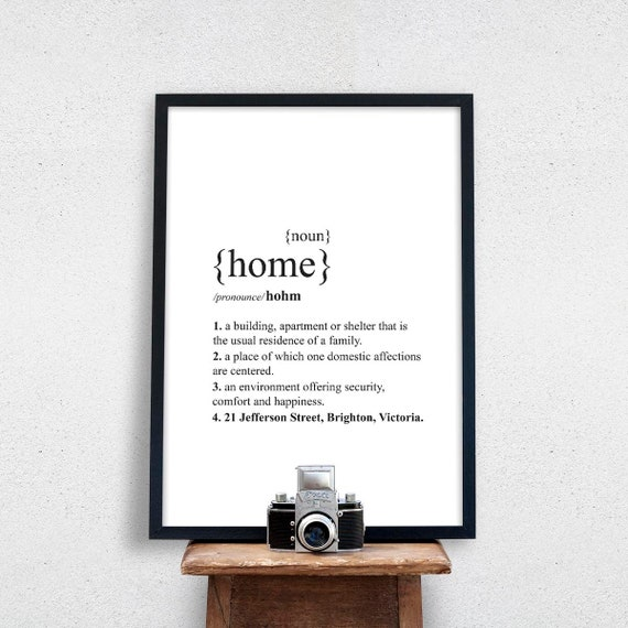 Personalised Home Dictionary Definition Quote Print Wall Art A4 A3 A2