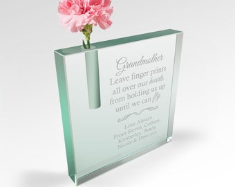 Personalised Square Crystal Bud Glass Vase with Gift Box for Mum Grandma Mother Wife | Valentines Day Mothers Day Wedding Anniversary