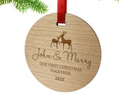 Personalised First Christmas Wooden Round Christmas Bauble Ornament Gift Custom Couple Names Date Christmas Tree Keepsake Decoration