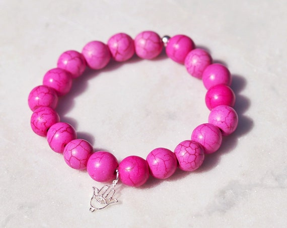 Pink agate beads Hamsa hand bracelet silver with pink agate boho bead stacks good luck bracelet.