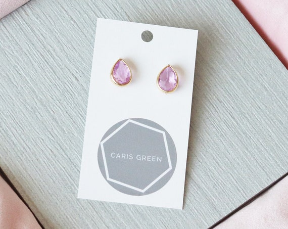 Pink Glass Gemstone Earrings. Pink Bridesmaid earrings. Minimalist gold statement earrings.