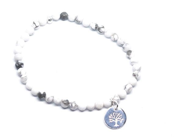 Tree of life Howlite beaded bracelet with silver plated tree of life charm. white and grey boho bead stacks