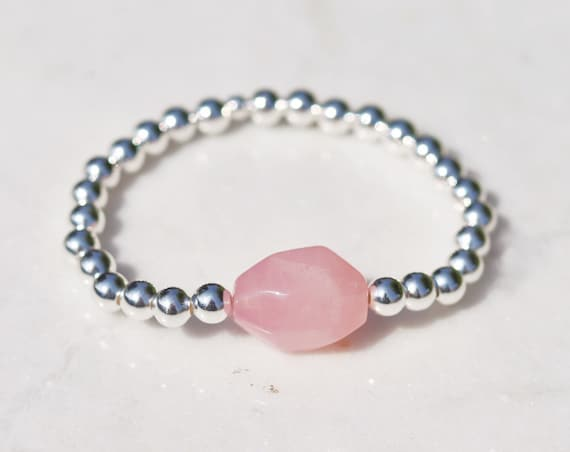 Rose quartz bracelet silver beads quartz tumble stone. Silver plated boho bead stacks
