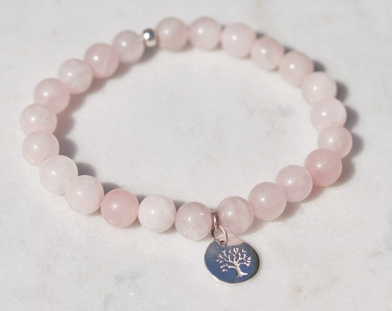 Rose quartz tree of life bracelet silver plated charm. Love bracelet. boho bead stacks