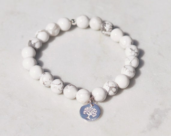 Tree of life. Howlite beaded bracelet with silver plated tree of life charm. white and grey boho bead stacks