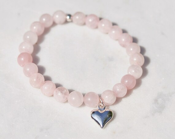 Rose quartz bracelet silver plated heart charm. Love bracelet. boho bead stacks