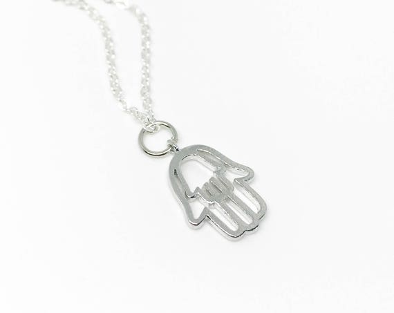 Silver hamsa hand necklace. Hamsa pendant. Hamsa necklace silver chain. Silver delicate necklace. Good luck necklace