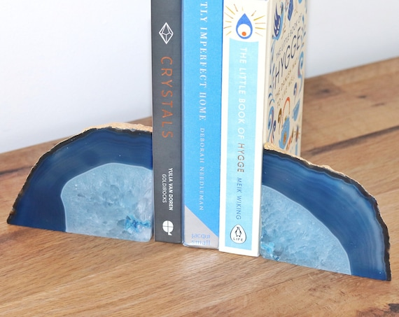 Agate bookends blue and gold. Hand Gilded 24 carat gold leaf. Pair of geodes. Boho chic Bookshelf decor