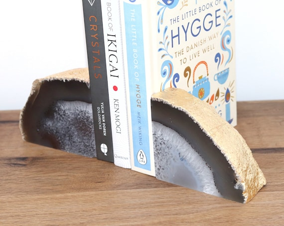 Agate bookends. Natural white/grey and gold. Gold leaf gilded. Bohemian bookshelf decor. Geode pair