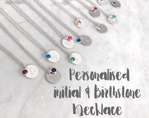 June birthstone necklace and initial disc on trace chain silver plated. Purple amethyst charm. Bridesmaid necklace