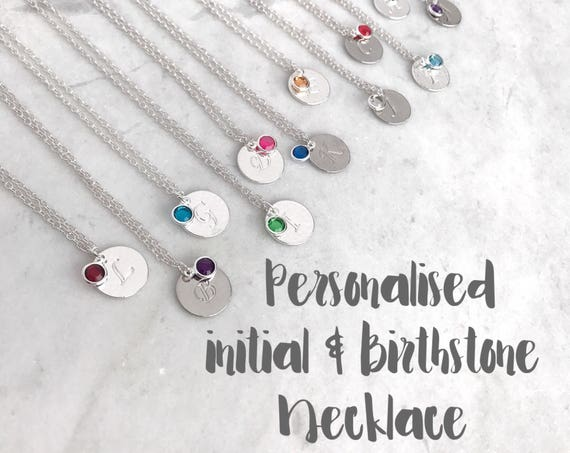 January birthstone necklace with initial disc on trace chain silver plated. Red garnet personalised pendant. Bridesmaid necklace