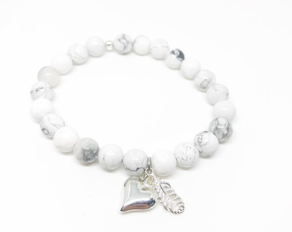 Heart and feather howlite beaded bracelet with silver plated charms Howlite boho bead stacks