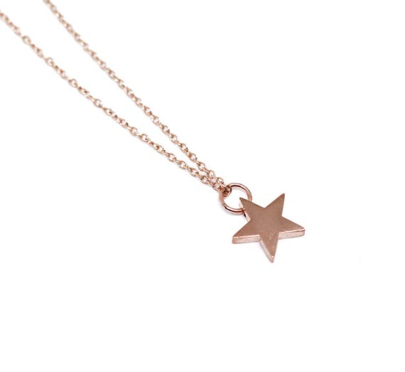 Rose gold star necklace. Star pendant. Star necklace rose gold chain. Rose gold delicate necklace. Good luck necklace