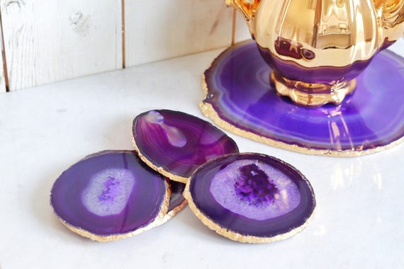 Purple agate coasters. Boho decor agate slice handmade gilded with gold leaf edging. Bohemian home decoration. Gold agate slices