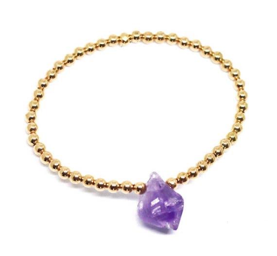 amethyst gold beaded bracelet. February birthstone bracelet boho bead stacks raw amethyst