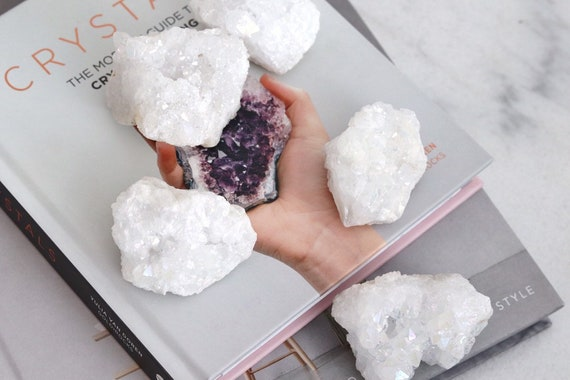 Aura quartz crystal decor geode. Rainbow. Boho Home Decor. Meditation. Crystal Quartz Paper Weight. Decorative crystal Bohemian homewares.