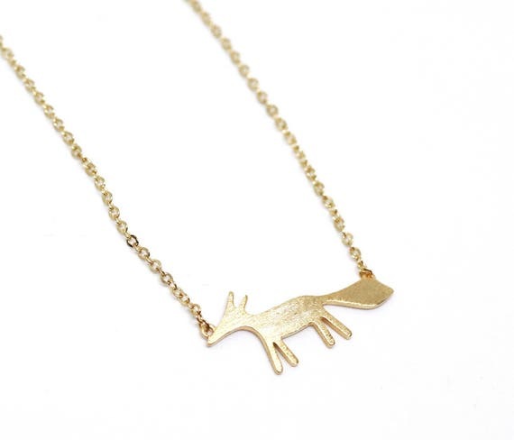 Gold fox necklace. Woodland animals pendant. Fox necklace gold chain. Gold delicate necklace