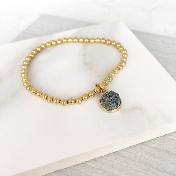 Gold beaded bracelet with druzy charm. Gold boho bead stacks with druzy quartz. Charm bracelet. Stacking bracelet