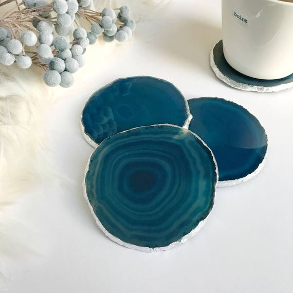 Teal agate coasters. Boho decor agate slice handmade gilded with Silver leaf edging. Bohemian home decoration.