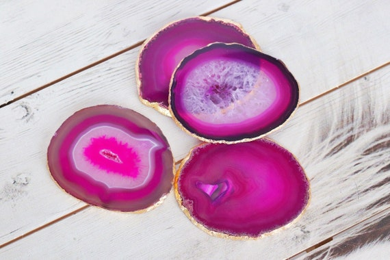 Agate coasters. Pink agate gilded with Gold leaf edging. Unique gift present. Boho chic coffee table home decor. Bohemian style. Agate slice