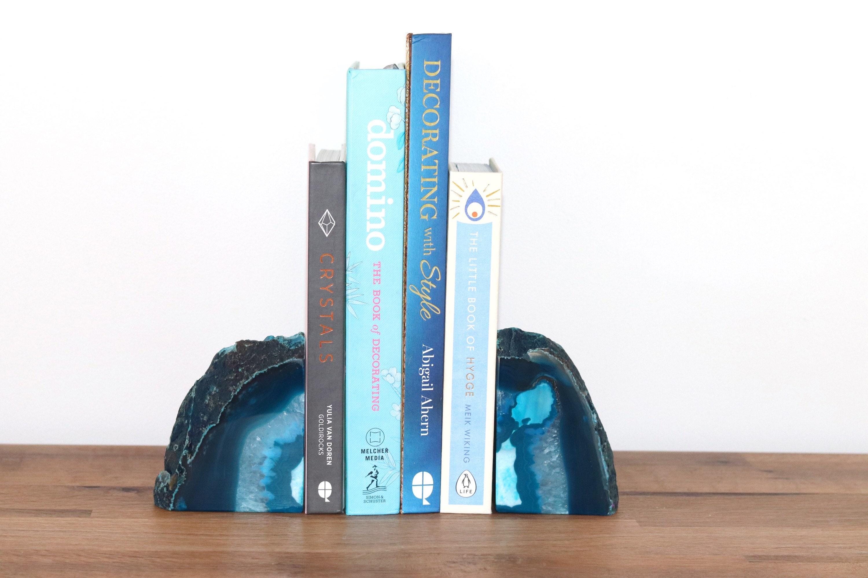 Bohemian Bookshelf Decor Pair Of Geodes Boho Chic Homewares