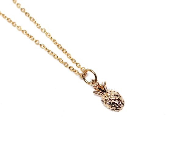 Gold pineapple necklace. Pineapple pendant. Pineapple necklace gold plated chain. Gold and rhinestone