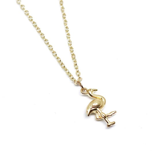 Gold flamingo necklace. Flamingo pendant. Flamingo necklace gold chain. Gold delicate necklace