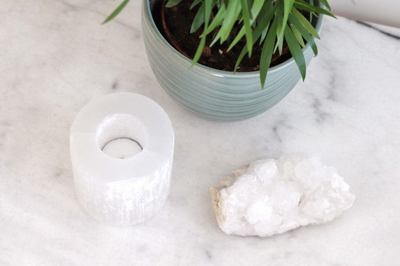 Selenite candle holder natural home decor white grey marble look. Selenite crystal. Boho chic coffee table decor. Crystal home decor