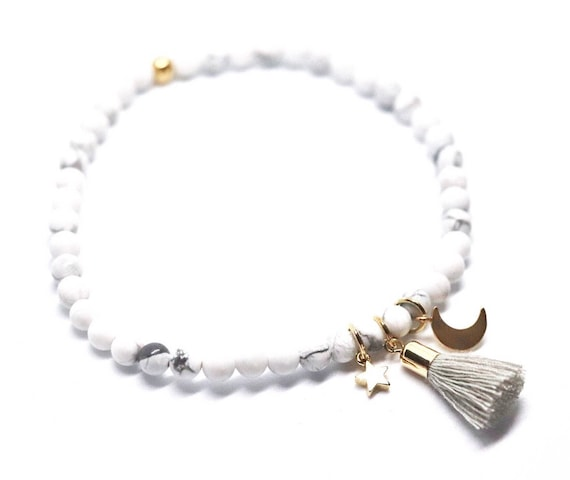 Star and moon howlite beaded bracelet with grey tassel. Marble bracelet boho bead stacks