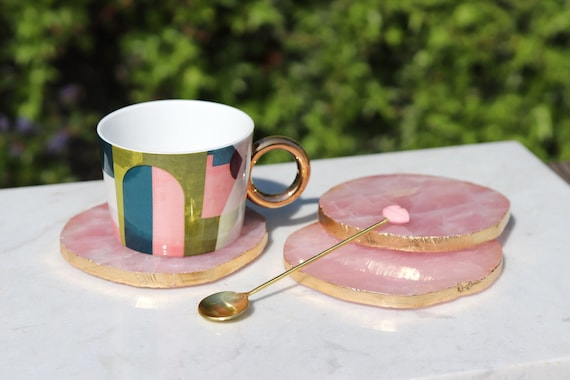 Rose quartz coasters. Pink quartz gilded with Gold leaf edges. Crystal quartz. Unique gift present. Boho chic coffee table home decor.