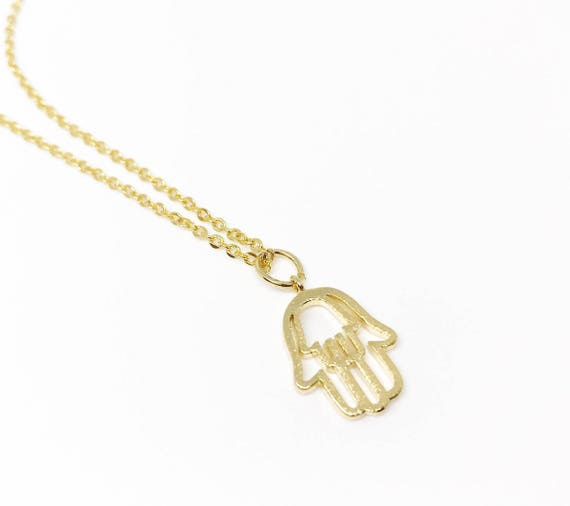 Gold hamsa hand necklace. Hamsa pendant. Hamsa necklace gold chain. Gold delicate necklace. Good luck necklace