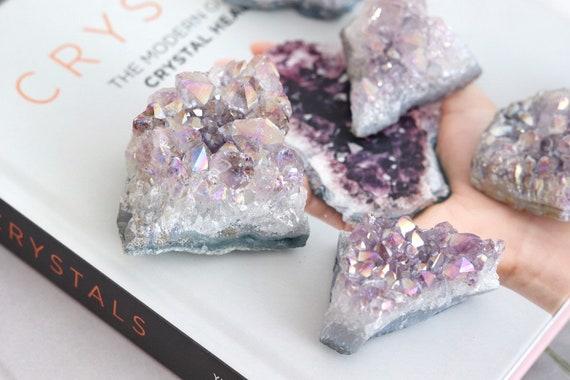 Aura Amethyst crystal decor. Rainbow. Boho Home Decor. Meditation. Crystal Quartz Paper Weight. Decorative crystal Bohemian homewares.